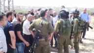 Israeli forces intervene the protestors during a demonstration to demand the body of a Palestinian who shot dead by Israeli forces in the West Bank...