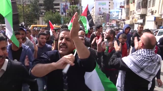 Israeli forces intervene to Palestinian protesters with tear gas during a demonstration against Israeli Government's violations over Palestinians on...
