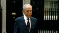 Israeli President Shimon Peres in Downing Street ENGLAND London Downing Street EXT Shimon Peres out of No10 Downing Street to presser Shimon Peres...