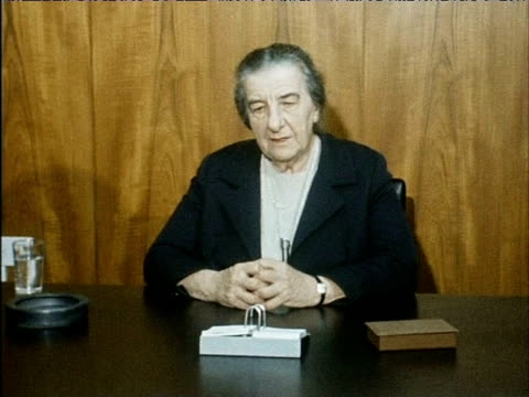 Israeli Prime Minister Golda Meir comments on Middle East situation with reference to Egyptian Premier Gamal Abdal Nasse