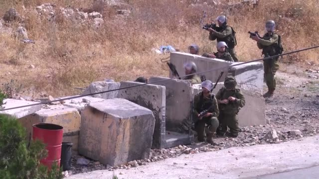 Israeli security forces and Palestinian protestors clash during the protest on Naksa Day and Israeli security forces intervene the protestors with...