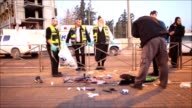 Israeli security forces inspect a crime scene after Israeli soldiers shot dead a Palestinian man who allegedly stabbed Israeli person at a trolley...