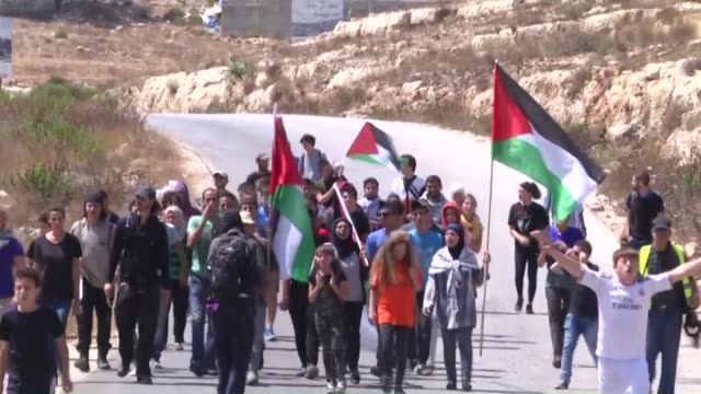 Israeli soldiers intervene Palestinians protesting the Israeli settlements and the separation barrier in Nabi Saleh village in Ramallah West Bank on...