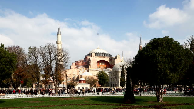 Istanbul Hagia Sophia from park wide shot sunny day