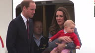 It is the last day of the Duke and Duchess of Cambridge's Royal Tour of Australia and New Zealand Shows exterior shots of Prince George being carried...