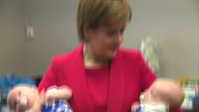It is the second day of Scottish National Party's annual conference Shows First Minister of Scotland Nicola Sturgeon visiting the conference creche...