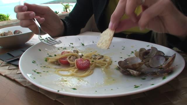 Italian food: eating mediterranean spaghetti