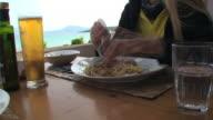 Italian food: mediterranean spaghetti