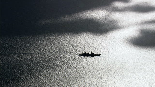 Italian Frigate Steaming Into Shade  - Aerial View - Sicily, Province of Messina, Messina, Italy
