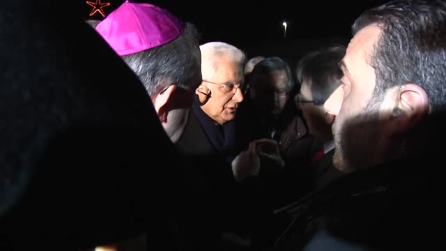 Italian President Sergio Mattarella at burial chamber for the six victims of helicopter accident in L'Aquila on January 27 2017