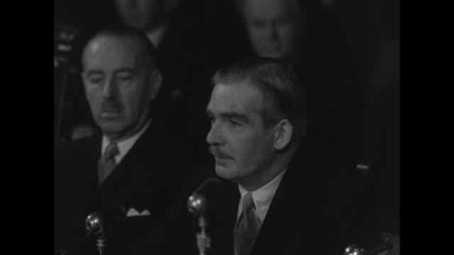 VS Italian Prime Minister Alcide De Gasperi of Italy and Belgian foreign minister Paul van Zeeland listen as SOT UK Deputy Prime Minister Sir Anthony...