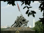 Iwo Jima memorial with Washington Monument and Capital Building in background
