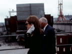 Jackie Onassis visits a Belfast Shipyard owned by husband Aristotle Onassis