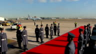 Jacob Zuma arrives in Britain for state visit ENGLAND London Heathrow Airport EXT South African Air Force plane manoeuvring on runway / Jacob Zuma...