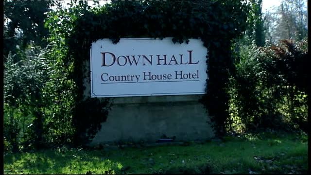 Jade Goody's wedding preparations Hotel where wedding will be held ENGLAND Hertfordshire EXT Sign outside Down Hall Country House Hotel where former...