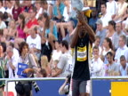 Jadel Gregorio Men's Triple Jump clapping to rouse crowd roars as he stares straight ahead with tunnel vision 2004 Crystal Palace Athletics Grand...