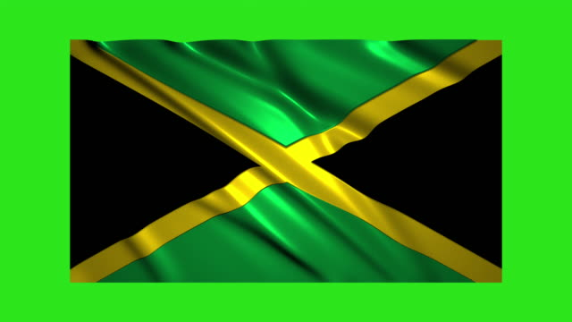 Jamaica flag waving,loopable on green screen