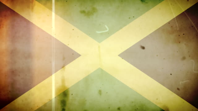 Jamaican Flag - Grungy Retro Old Film Loop with Audio