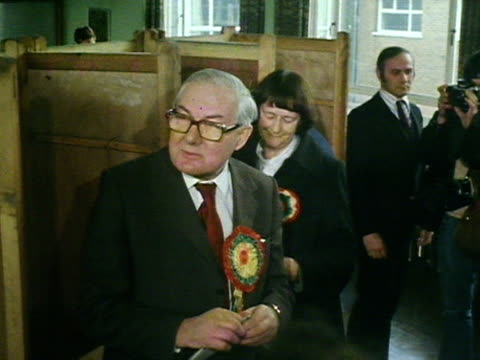 James Callaghan and his wife vote at a polling station for the 1979 General Election