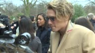 Jamie Campbell Bower at Burberry Prosum A/W14 Arrivals at Kensington Gardens on February 17 2014 in London England