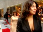 VS CU JamieLynn Sigler posing on red carpet Sigler greets Karen Duffy with a kiss Sigler greets Aida Turturro with hug and kiss they whisper to each...