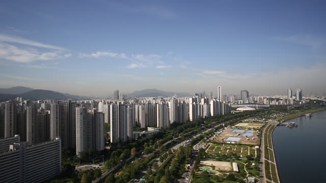 Jamsil Apartment residential district and Hangang Riverside park behind Jamsil Sports Complex