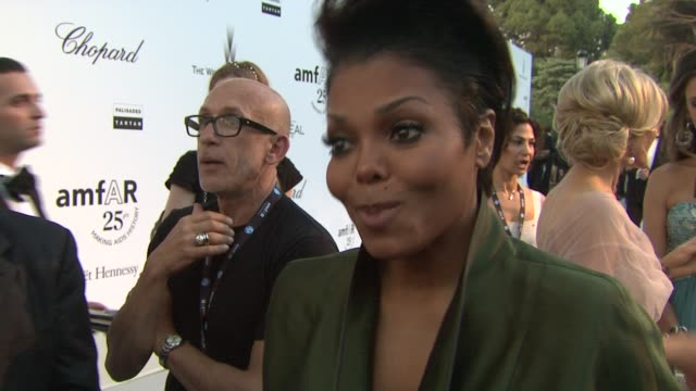 Janet Jackson on her relation with Elizabeth Taylor being at the event and how this is an 'ego free' event at the amfAR Gala Red Carpet Arrivals 64th...