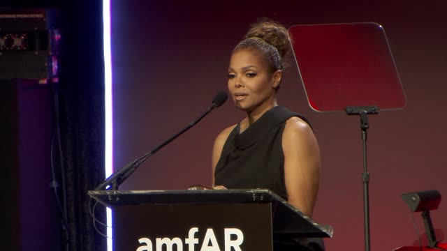 SPEECH Janet Jackson receives an award at amfAR New York Gala To Kick Off Fall 2013 Fashion Week at Cipriani Wall Street on February 06 2013 in New...