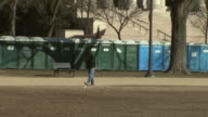January 16 2009 ZI A line of portable toilets on the National Mall / Washington DC United States