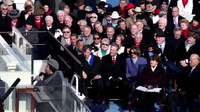 January 20 2009 Aretha Franklin performing America at the Capitol Building during the inauguration of President Barack Obama while Dianne Feinstein...