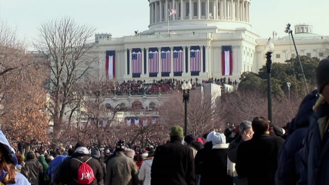 January 20 2009 WS MONTAGE Sections of the crowd on the National Mall at the inauguration of Barack Obama / Washington DC / AUDIO