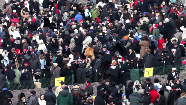 January 20 2009 People arriving and finding seats at the inauguration of President Barack Obama/ Washington DC/ AUDIO