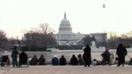 January 20 2009 WS Spectators in front of the Capitol Building at the inauguration of Barack Obama / Washington DC / AUDIO
