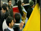 January 2009 MONTAGE AntiUS protestors burning American flag in protest following Barack Obama's inauguration as US president/ Tehran Iran/ AUDIO