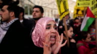 January 23 2009 MS CU Young woman shouting Shame on Arab leaders during protest against Israel's attack on Gaza Strip/ Washington DC/ AUDIO