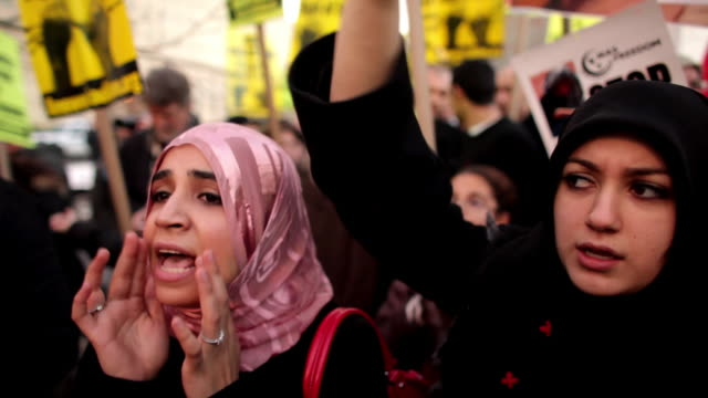 January 23 2009 MS CU Young women shouting during protest against Israel's attack on Gaza Strip/ Washington DC/ AUDIO