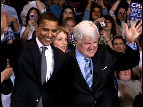 January 28 2008 MS Barack Obama and Ted Kennedy waving to crowd at Obama campaign rally at American University as Patrick and Caroline Kennedy stand...