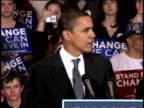January 28 2008 MS Barack Obama speaking at podium during campaign rally at American University/ Washington DC/ AUDIO