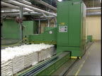 January 29 2004 ZO Cotton running through a machine at a textile mill / South Carolina United States
