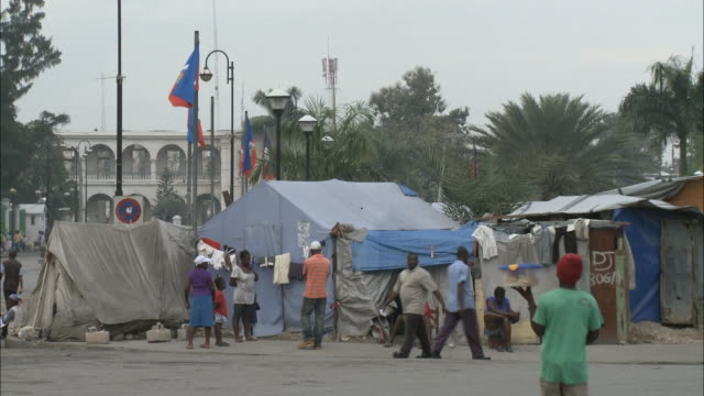 January 7 2011 WS Survivors of the January 2010 earthquake camped in a tent city on the Champs de Mars plaza / PortauPrince Haiti
