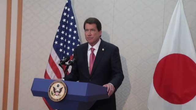 New US Ambassador to Japan William Hagerty a businessman close to US President Donald Trump attends a press conference at Narita International...