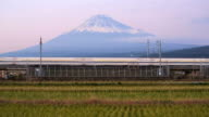 Japan, Honshu, Mount Fuji, Shinkansen Bullet Train passing through harvested rice fields below the snow capped volcano