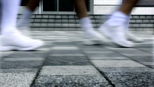 Japan Schoolgirls Sidewalk