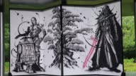 A folding screen painted in ink featuring main characters of the Star Wars movie was unveiled Tuesday at Byodoin a Buddhist temple on UNESCO's World...