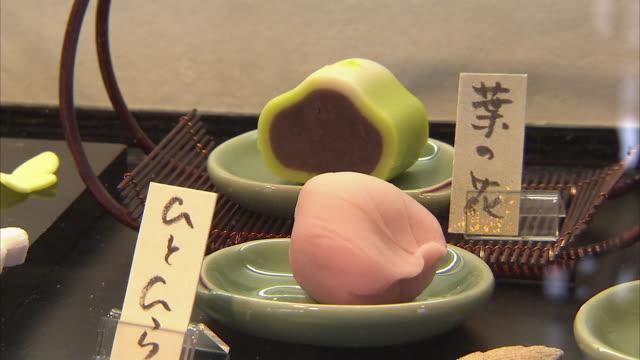 CU Japanese bean paste sweets on display, Kyoto, Japan