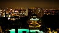 T/L, WS, HA, Japanese garden and swimming pool at night, Hollywood, Los Angeles, California, USA