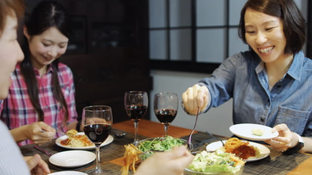 Japanese Girlfriends Eating Pasta