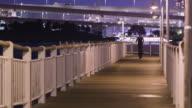 MS A Japanese man runs next to Tokyo Bay / Tokyo, Japan