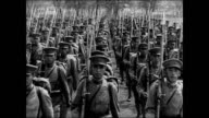 Japanese soldiers in formation marching standing at attention officer VS Soldiers standing marching BG doing marching drills Troops infantry army...