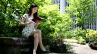 Japanese Woman Reading in a Park in Tokyo